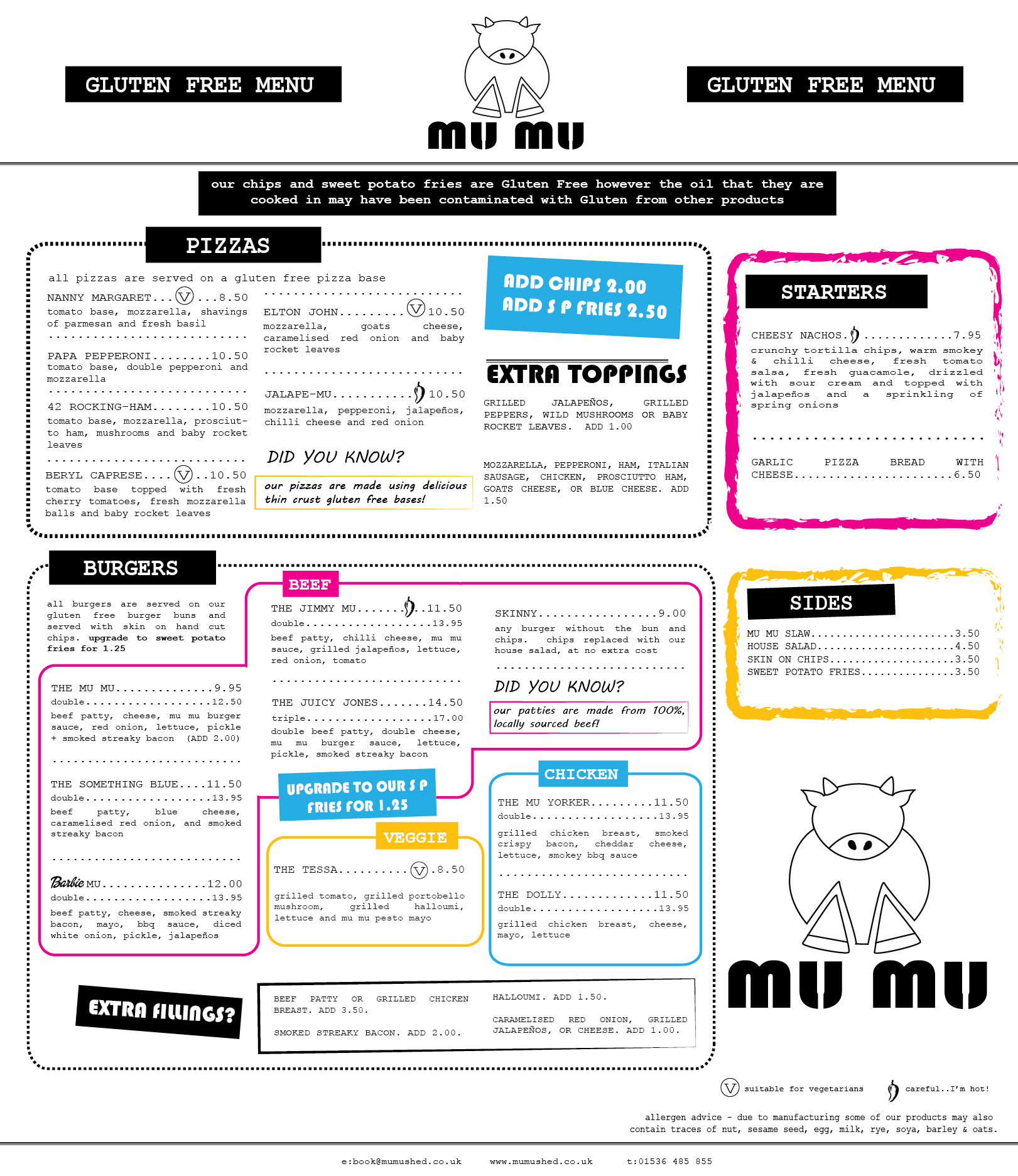 MuMu Gourmet Northampton Food Menu